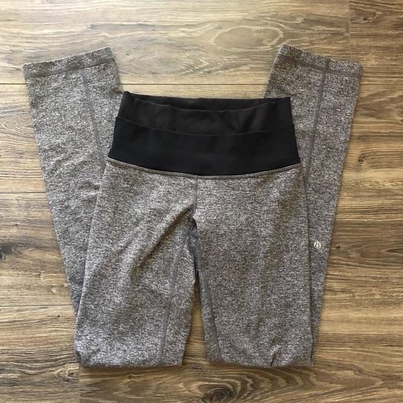 lululemon athletica Pants - LuluLemon foldover Heathered Grey Yoga Pant